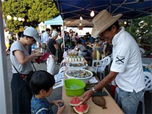 本年も夏祭り夜店にTSKI出店 ~NPO菜園野菜が人気! スイカ、枝豆、ジュース完売
